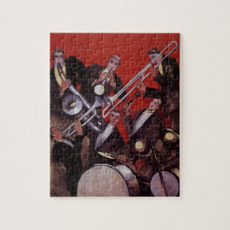 Vintage Music, Art Deco Musical Jazz Band Jamming Jigsaw Puzzle