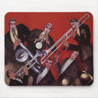 Vintage Music, Art Deco Musical Jazz Band Jamming Mousepad