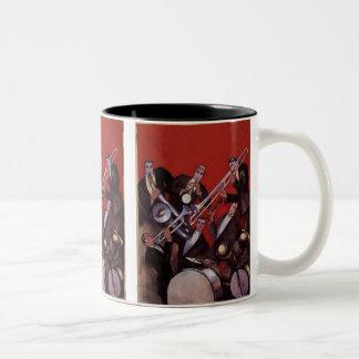 Vintage Music, Art Deco Musical Jazz Band Jamming Mugs