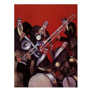 Vintage Music, Art Deco Musical Jazz Band Jamming Postcard