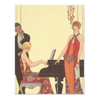 Vintage Music, Art Deco Pianist Musician Invitaion 11 Cm X 14 Cm Invitation Card