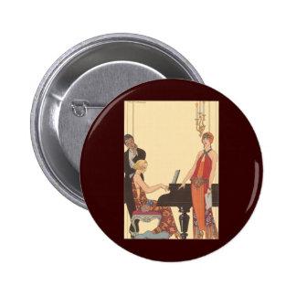 Vintage Music Art Deco Pianist Musician Singer Pinback Buttons