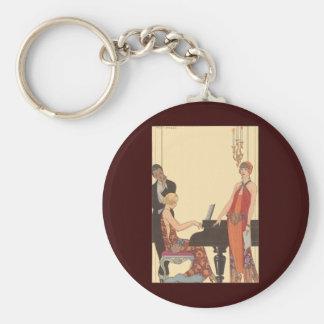 Vintage Music, Art Deco Pianist Musician Singer Key Chains