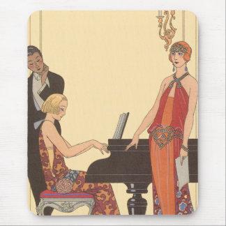 Vintage Music, Art Deco Pianist Musician Singer Mousepad