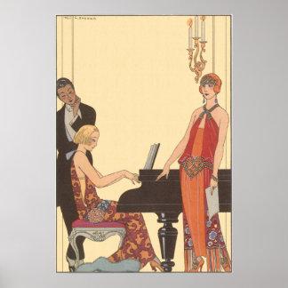 Vintage Music, Art Deco Pianist Musician Singer Poster