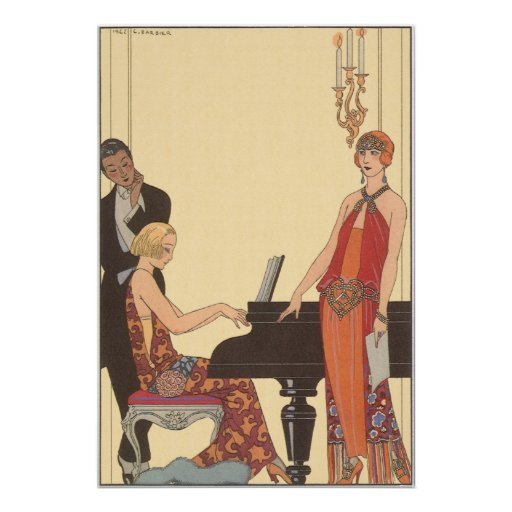 Vintage Music Art Deco Pianist Musician Singer Poster