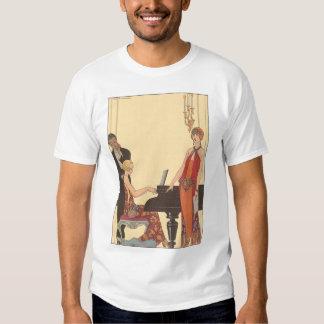 Vintage Music, Art Deco Pianist Musician Singer Tee Shirt