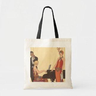 Vintage Music, Art Deco Pianist Musician Singer Bag