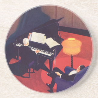 Vintage Music Art Deco Pianist Piano Player Lounge Beverage Coaster