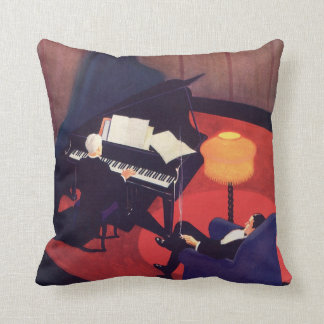 Vintage Music Art Deco Pianist Piano Player Lounge Pillows