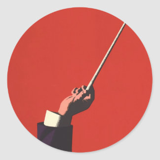 Vintage Music, Conductor's Hand Holding a Baton Round Sticker