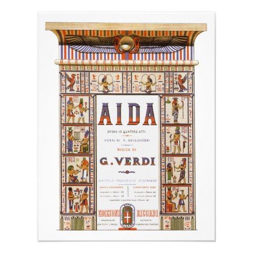 Vintage Music, Egyptian Aida Opera by Verdi Personalized Invitation
