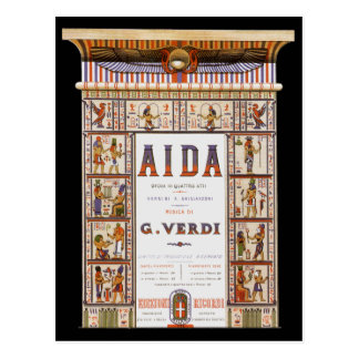 Vintage Music, Egyptian Aida Opera by Verdi Post Cards