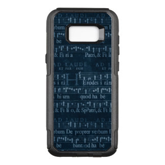 Vintage Music in White Over Dark Blue OtterBox Commuter Samsung Galaxy S8+ Case