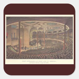 Vintage Music, Jenny Lind, Swedish Opera Singer Square Sticker