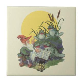 Vintage Music Magazine Cover Art, Etude Frog Choir Ceramic Tile