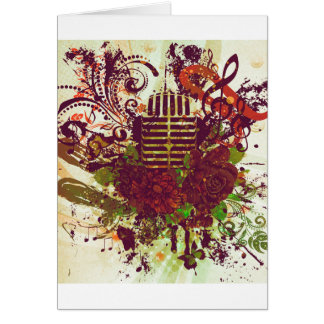 Vintage Music Microphone Card