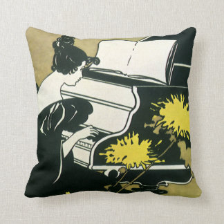 Vintage Music, Miss Traumerei Playing Piano, Reed Cushion