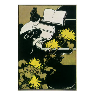 Vintage Music, Miss Traumerei Playing Piano, Reed Poster