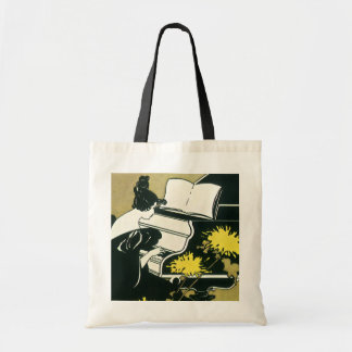 Vintage Music, Miss Traumerei Playing Piano, Reed Tote Bag