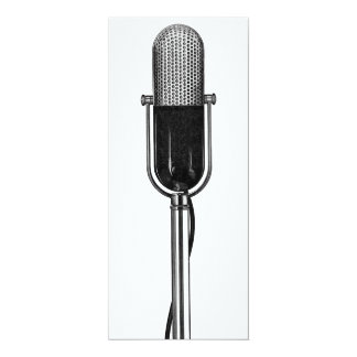 "Vintage Music Musical Microphone Birthday Party 4"" X 9.25"" Invitation Card"