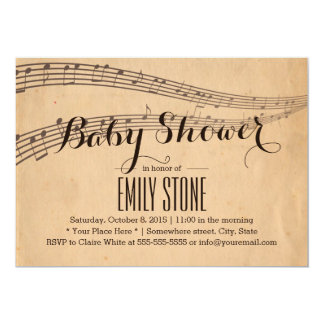 Vintage Music Notes Musical Baby Shower 13 Cm X 18 Cm Invitation Card