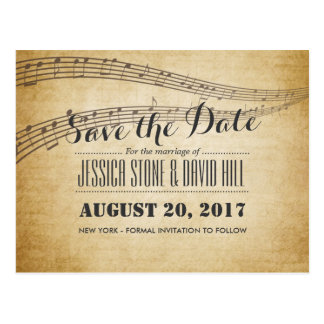 Vintage Music Notes Musical Wedding Save the Date Postcard