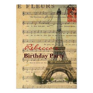 Vintage music notes Paris Eiffel Tower 11 Cm X 16 Cm Invitation Card