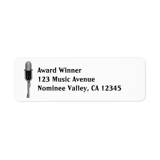 Vintage Music, Old Fashoined Retro Microphone Return Address Label