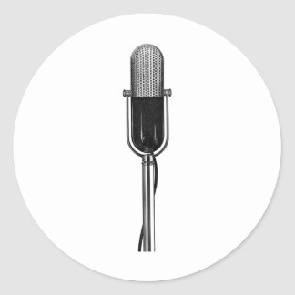 Vintage Music, Old Fashoined Retro Microphone Round Sticker