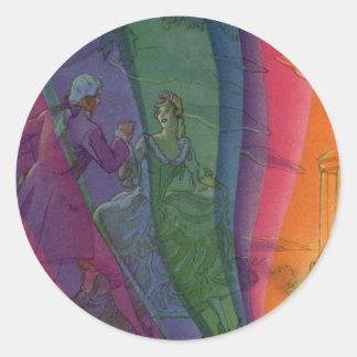Vintage Music Rainbow, Man and Woman Dancers Round Sticker