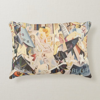 Vintage Music, Rhapsody in Blue Art Deco Jazz Accent Cushion