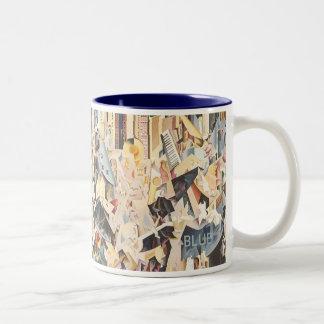 Vintage Music, Rhapsody in Blue Art Deco Jazz Two-Tone Coffee Mug