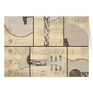 Vintage Music Sheet and Pop Art Abstract Guitar Card