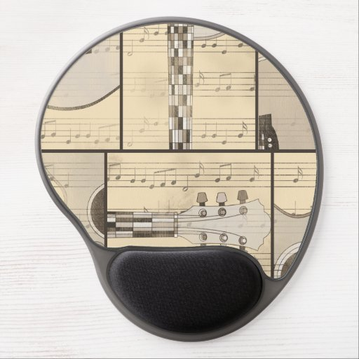 Vintage Music Sheet and Pop Art Abstract Guitar Gel Mouse Pads