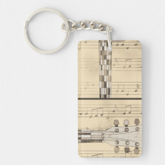 Vintage Music Sheet and Pop Art Abstract Guitar Double-Sided Rectangular Acrylic Key Ring