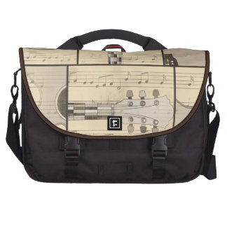 Vintage Music Sheet and Pop Art Abstract Guitar Commuter Bags