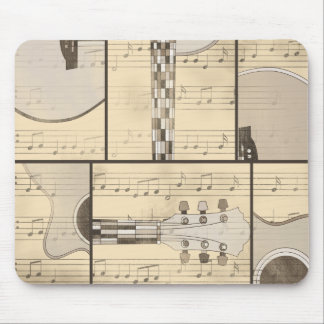 Vintage Music Sheet and Pop Art Abstract Guitar Mouse Pad