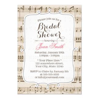 Vintage Music Sheet Bridal Shower Invitations