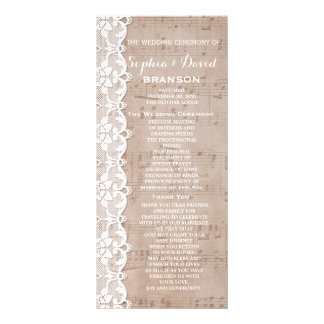 Vintage Music Sheet & Lace Wedding Program Custom Rack Card