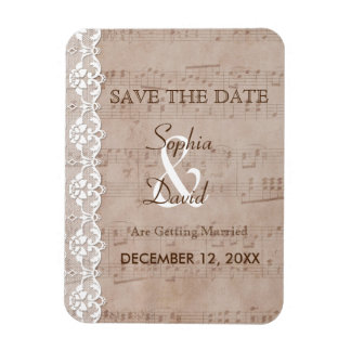 Vintage Music Sheet & Lace Wedding SAVE THE DATE Magnet