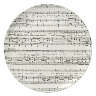 Vintage music sheet,musical notes plate