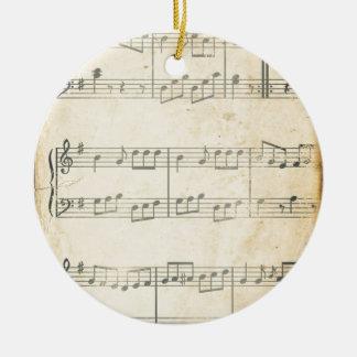Vintage Music Sheet Round Ceramic Decoration