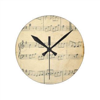 Vintage Music Sheet Round Clock