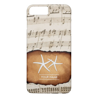 Vintage Music Sheet & Starfish Custom Name iPhone 7 Plus Case