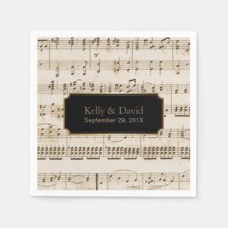 Vintage Music Sheets Elegant Musical Wedding Paper Napkin