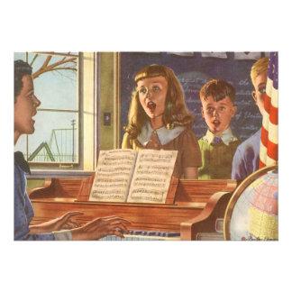 Vintage Music Teacher Teaching Students to Sing Custom Invitations