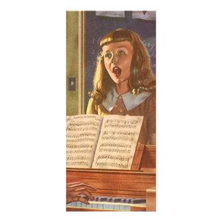 Vintage Music Teacher Teaching Students to Sing Rack Card Template