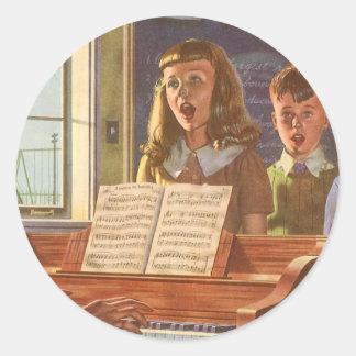 Vintage Music Teacher Teaching Students to Sing Round Sticker