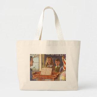 Vintage Music Teacher Teaching Students to Sing Jumbo Tote Bag